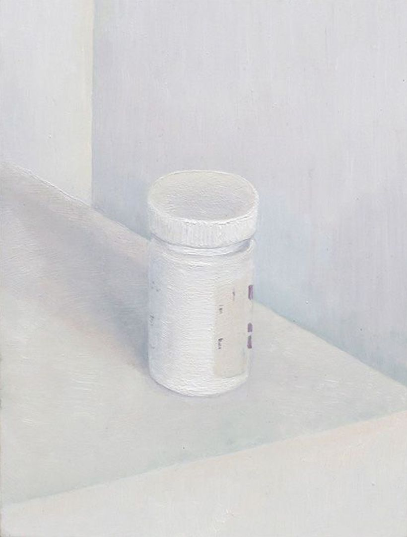 Johannes Siversten, <em>Pills </em>(2014), oil on canvas, 7 x 9.5 inches
