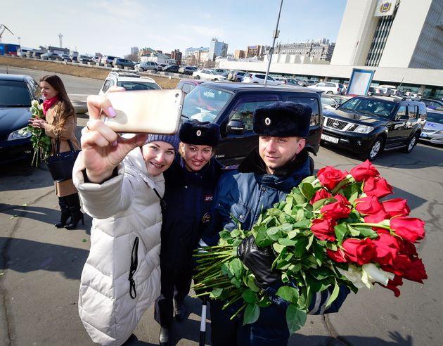 Russian Police Surprise Female Drivers On International Women's