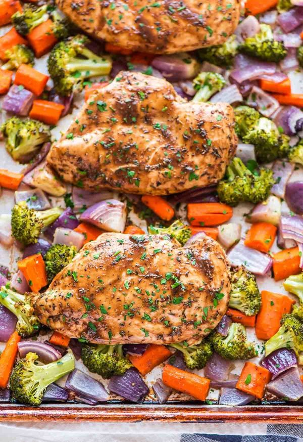 "<strong>Get the <a href=""http://www.wellplated.com/maple-dijon-chicken/"" target=""_blank"">Maple Dijon Chicken and Vegetables r"