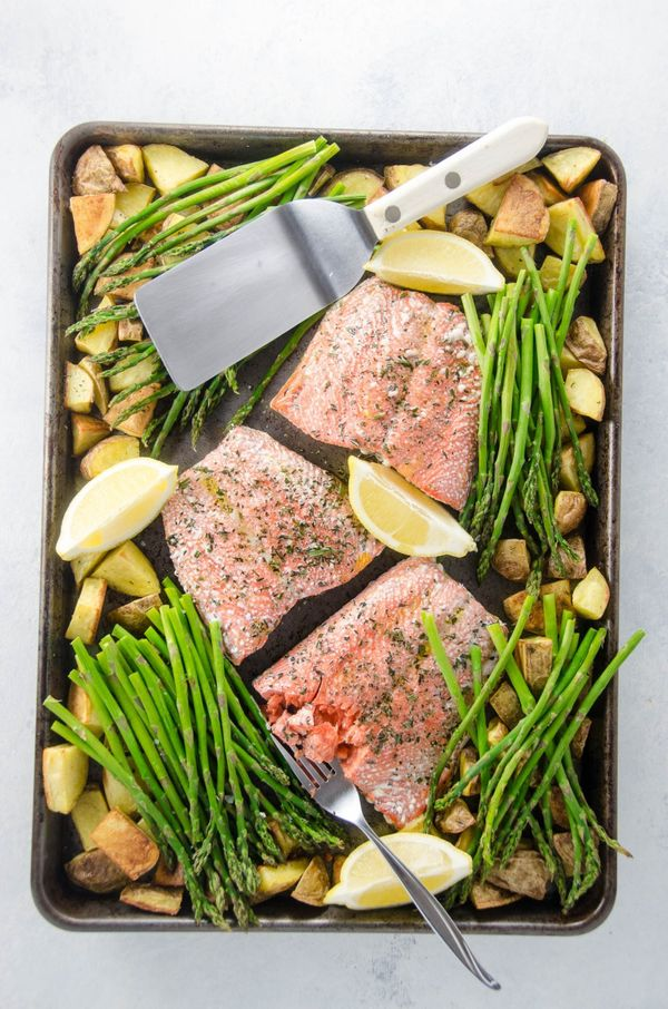 "<strong>Get the <a href=""https://umamigirl.com/sheet-pan-dinner-roasted-salmon/"" target=""_blank"">Roasted Salmon with Potatoes"