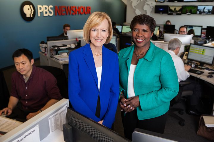"Anchored by Judy Woodruff alone following <a href=""http://www.politico.com/blogs/on-media/2016/11/gwen-ifill-dies-at-age-61-2"