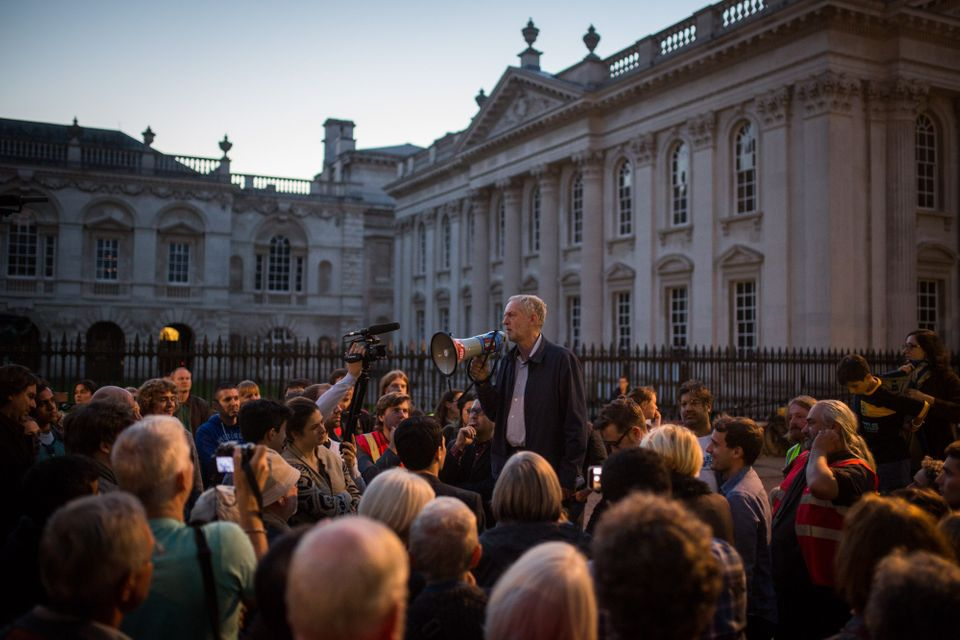 Jeremy Corbyn speaks to supporters outside Great St Mary's Church in Cambridge on September 6, 2015 as...