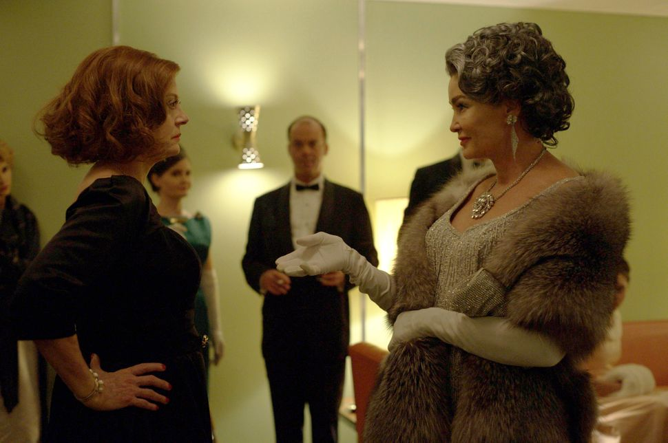 The delightfully sharp-witted Bette Davis and Joan Crawford, played by Susan Sarandon and Jessica Lange.