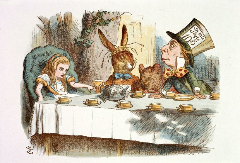 <em>Mad Hatters Tea Party, Alice in Wonderland </em>by Lewis Carroll (pseudonym of Charles Lutwidge Dodgson); John Tenniel, I