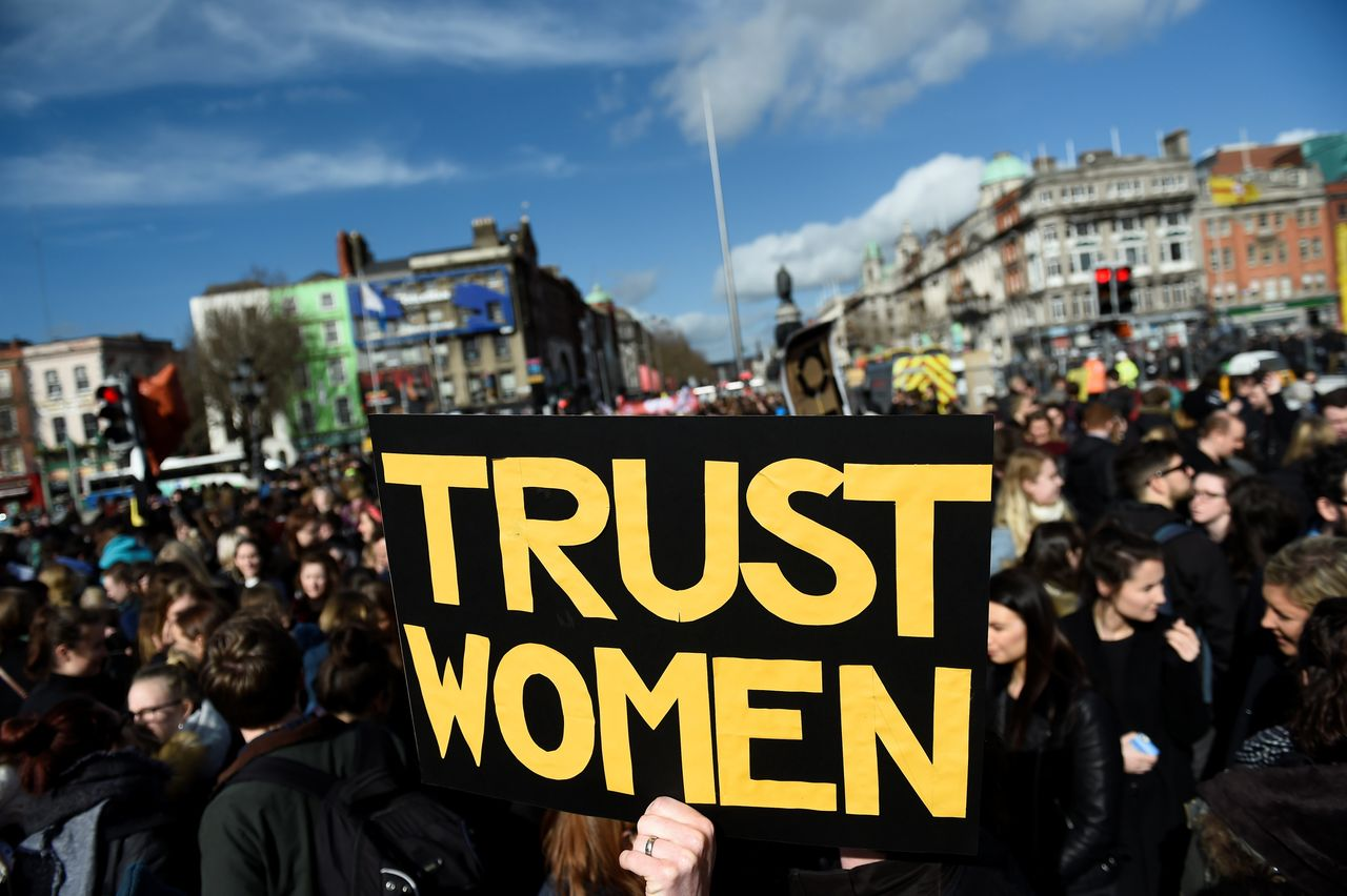 Dublin protestors on March 8, 2017, gathered near the O'Connell Bridge. Despite these wins and signals that attitudes are changing, activists say legal progress has been minimal.