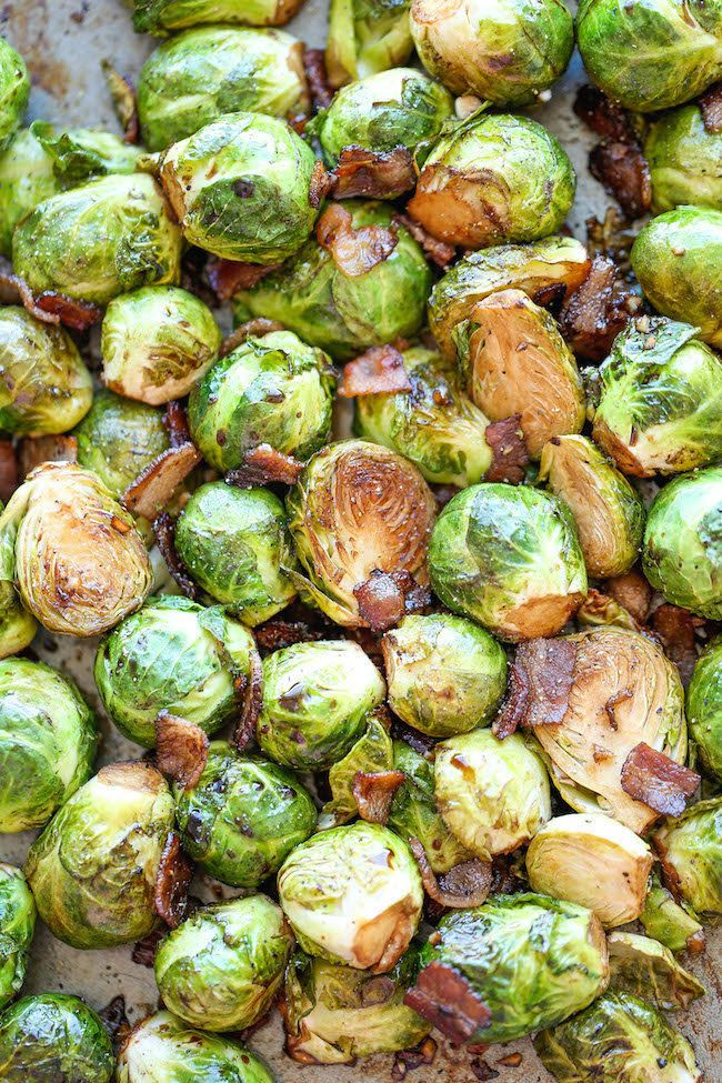 Get the Roasted Garlic And Bacon Brussels Sprouts recipe from Damn Delicious.