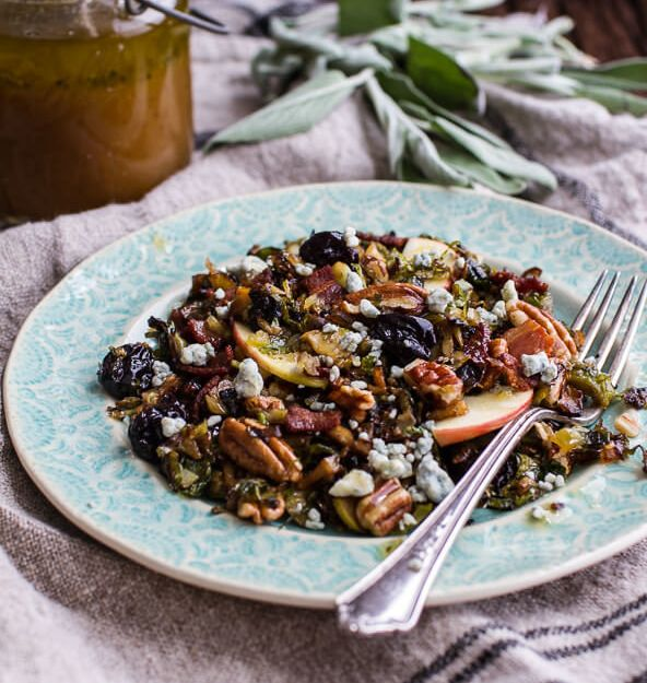 "<strong>Get the <a href=""https://www.halfbakedharvest.com/caramelized-brussels-sprout-salad-wblue-cheese-bacon-caramel-apple-vinaigrette/"" target=""_blank"">Caramelized Brussels Sprout Pecan Salad with Bacon and Caramel Apple Vinaigrette recipe</a>&nbsp;from Half Baked Harvest.</strong>"