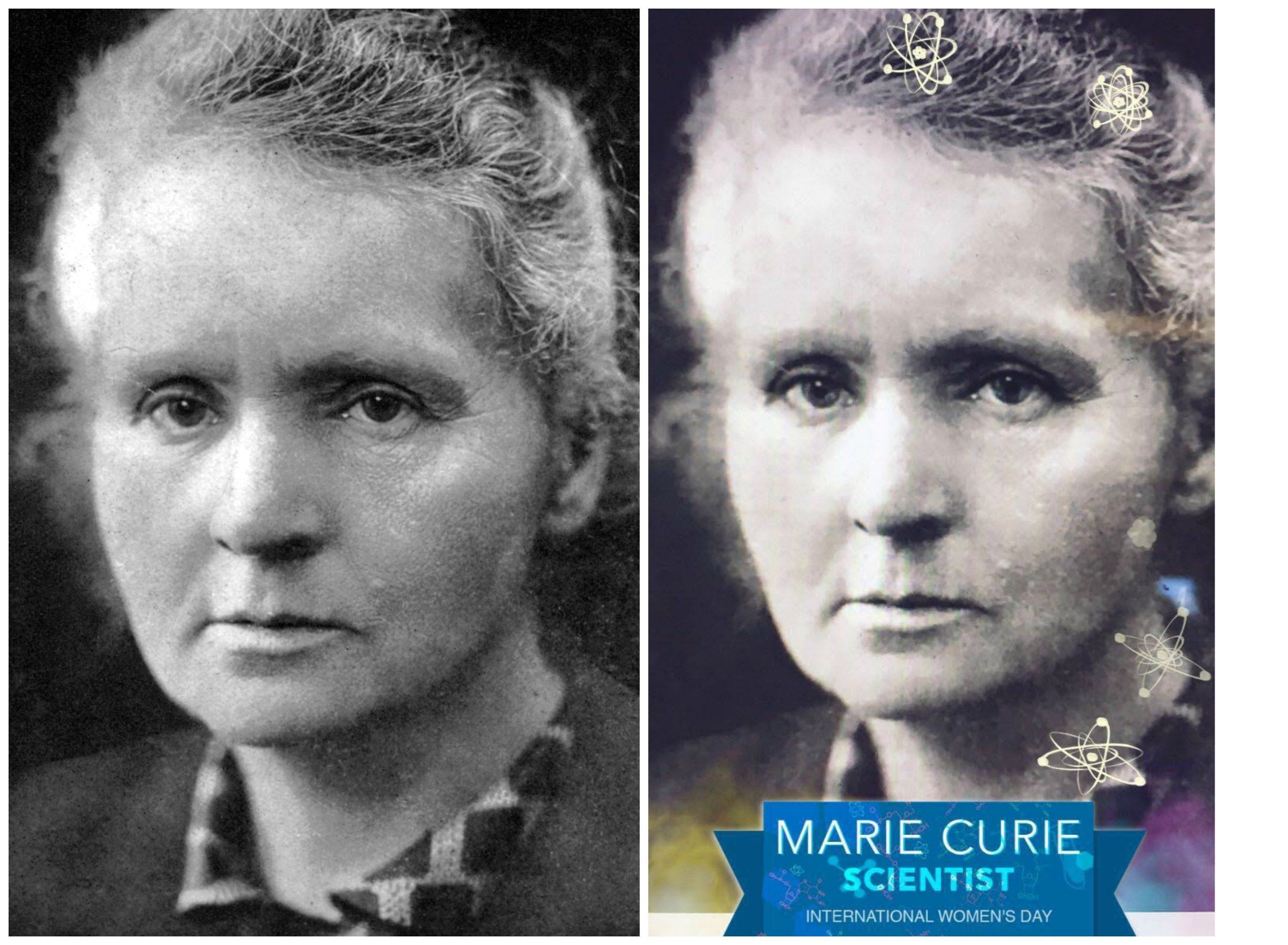 A photo of Marie Curie adjacent to a Snapchat-filtered photo of Marie Curie.