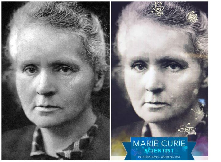 Aphoto of Marie Curie adjacent to a Snapchat-filtered photo of Marie Curie.