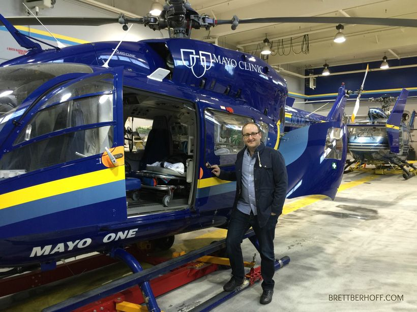 Brett Berhoff checking out the Mayo Clinic Helicopter fleet