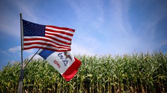U.S. and Iowa state flags are seen next to a corn field in Grand Mound, Iowa, United States, in this August 16, 2015 file photo. Along with other farmers in the vast agricultural region, many have increased their vigilance ever since Mo Hailong and five other Chinese nationals were accused by U.S. authorities in 2013 of digging up genetically modified corn seeds from Iowa farms and planning to send them back to China. REUTERS/Jim Young/Files