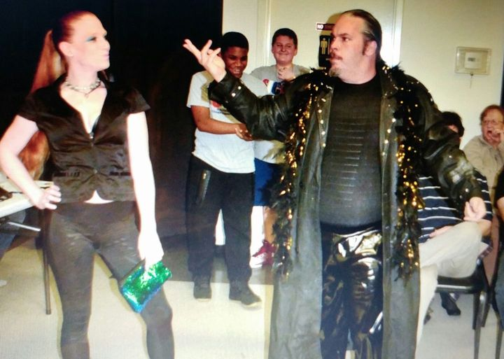 """Volatile"" Curtis Wylde, right, alongside Wyldefyre at a Southern Illinois Championship Wrestling match."