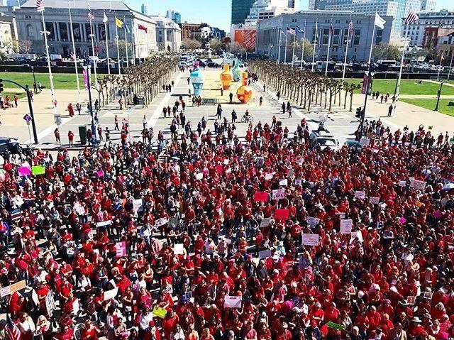 At San Francisco City Hall, hundreds gather to honorInternational Women's Day onWednesday.