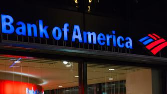 NEW YORK CITY, NEW YORK, UNITED STATES - 2015/10/17: Night view of logo of the Bank of America Tower. It is an American multinational banking and financial services corporation. (Photo by Roberto Machado Noa/LightRocket via Getty Images)
