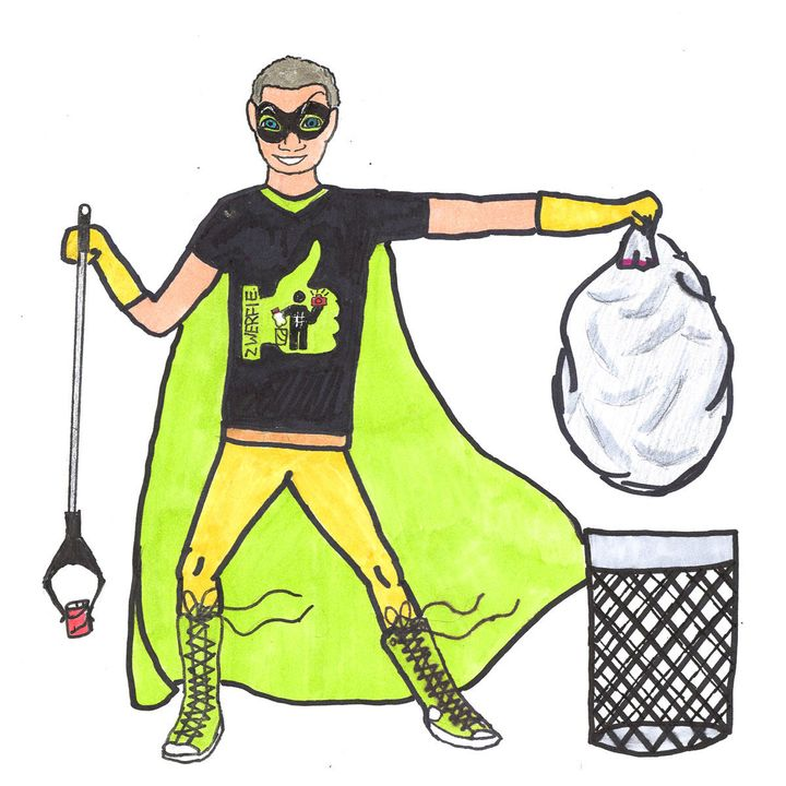 "Sasha Matthews, 12, takes people's jobs and hobbies and turns them into something heroic. In the caption of this drawing on her site, she wrote, ""This one was commissioned by Paul Southworth. He cares about litter and wanted to include the green thumbs-up from the #zwerfie movement."""