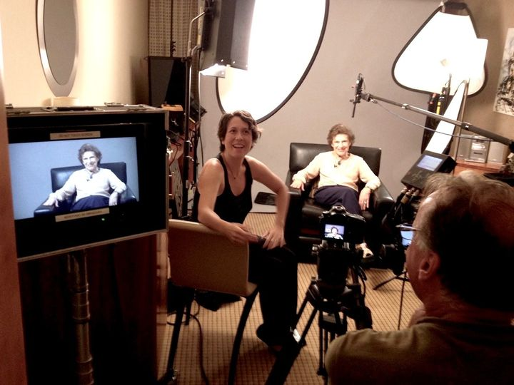 <p>Director Kathleen Man Gyllenhaal conducts an interview in Prague for her documentary <em>In Utero</em>.</p>