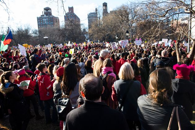 New York City's Washington Square Park is packed for the women's strike on