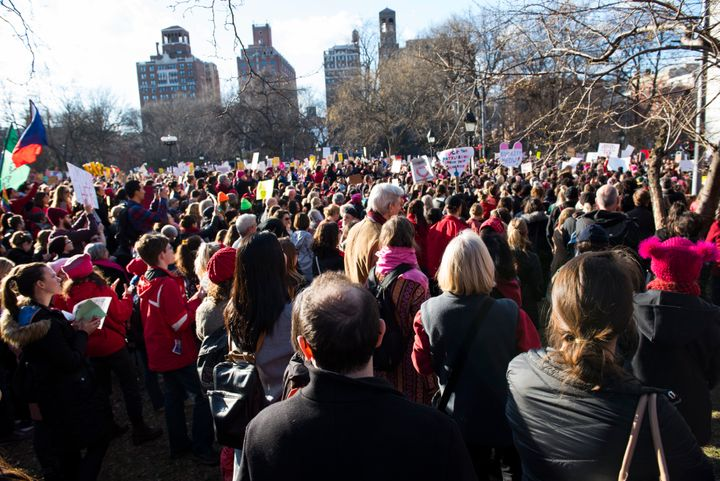 New York City's Washington Square Park is packed for the women's strike on Wednesday.