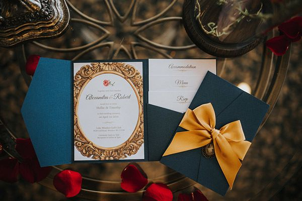 "Set the tone for your <i>Beauty and the Beast</i> wedding with a themed invitation. <i>Related: <a href=""http://www.bridalguide.com/planning/the-details/invitations-stationery/wedding-invitations-by-style"" target=""_blank"" rel=""nofollow"">Wedding Invitations by Style</a></i>"