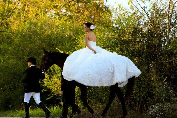 "Ride into your wedding ceremony on your own Phillipe.<i> Related: <a href=""http://bridalguide.com/planning/the-details/theme/pets-in-weddings"" target=""_blank"" rel=""nofollow"">50 Adorable Ways to Include Your Pet in Your Wedding Day</a></i>"
