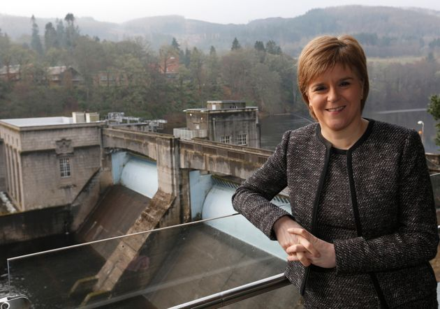 Sturgeon poses for a photograph at SSE's new Pitlochry Dam Visitor Centre, in Pitlochry, February