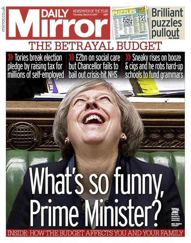 The Daily Mirror used this rather startling image of the Prime