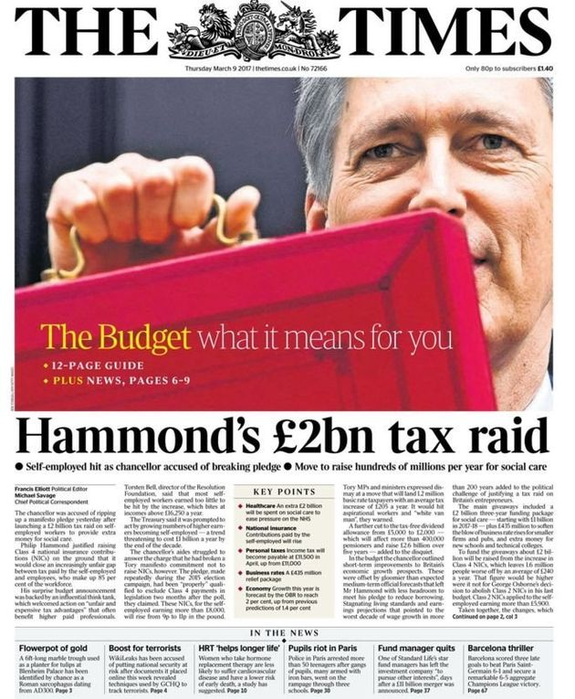 The Times described the announcement as a 'tax