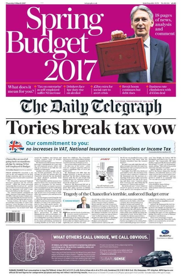 The Telegraph skewered Hammond for breaking a manifesto