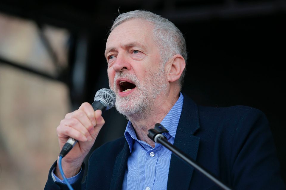 Jeremy Corbyn speaks at a rally against private companies' involvement in the