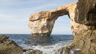 The Azure Window, a limestone natural arch on the island of Gozo in Malta on 1 February 2017. Azure Window was collapsed during a severe storm on 8 March 2017 (Photo by Mateusz Wlodarczyk/NurPhoto via Getty Images)