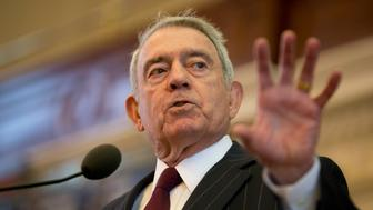 Journalist Dan Rather speaks at the Texas Book Festival on his latest work, Rather Outspoken, about his years as a CBS broadcast journalist. Rather discussed what he says is a lack of credibility in much of today's television journalism. (Photo by Robert Daemmrich Photography Inc/Corbis via Getty Images)