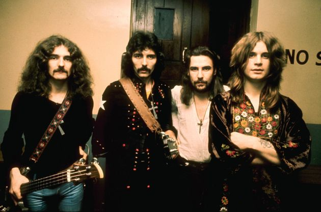 A shot of Black Sabbath (L-R: Geezer Butler, Tony Iommi, Bill Ward and Ozzy Osbourne) in the