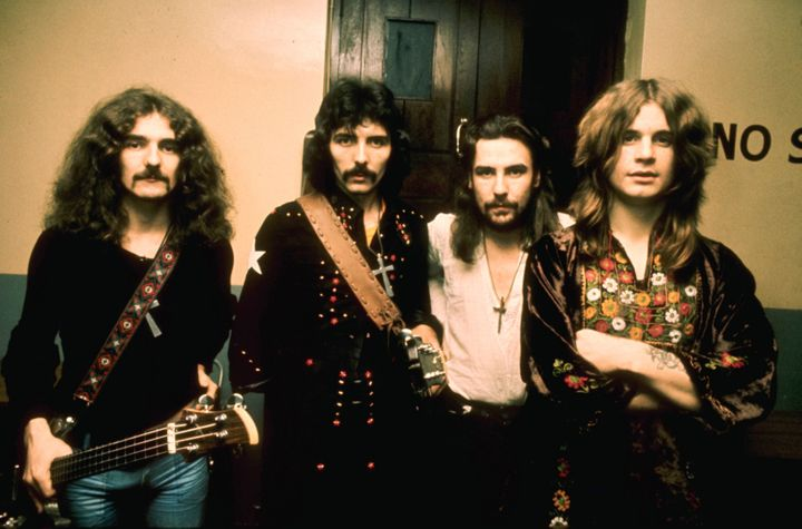 A shot of Black Sabbath (L-R: Geezer Butler, Tony Iommi, Bill Ward and Ozzy Osbourne) in the 1970s.