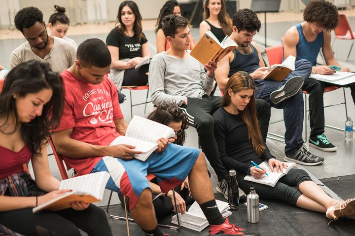 "The ensemble of APAC's ""In the Heights"" has been rehearsing in New York City since the middle of January. The show opens on M"