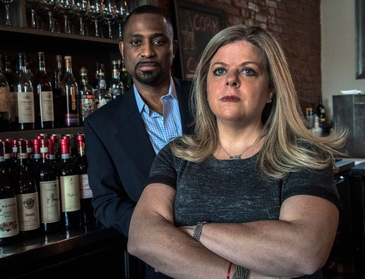 Khalid Pitts, left, and Diane Gross, co-owners of Cork, are suing President Donald Trump over his financial interest in the r