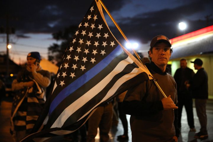 A group supporting Blue Lives Matter gathers in the neighborhoodwhere anoff-duty Chicago police officer fatally s