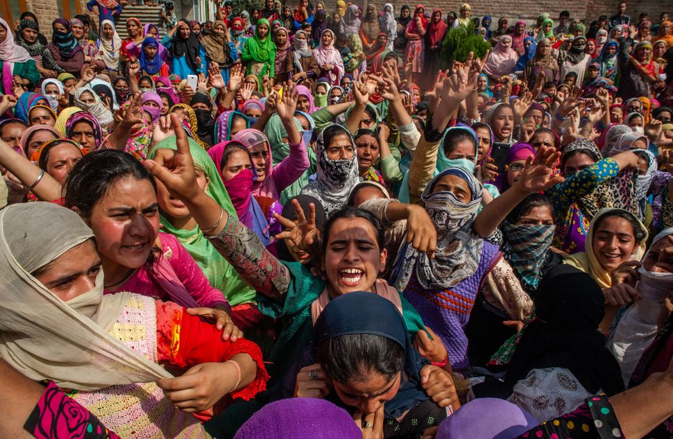 Kashmir Muslim women protest during the funeral of Javaid Ahmad on Sept. 11, 2016, in Srinagar. Ahmad was injured when I