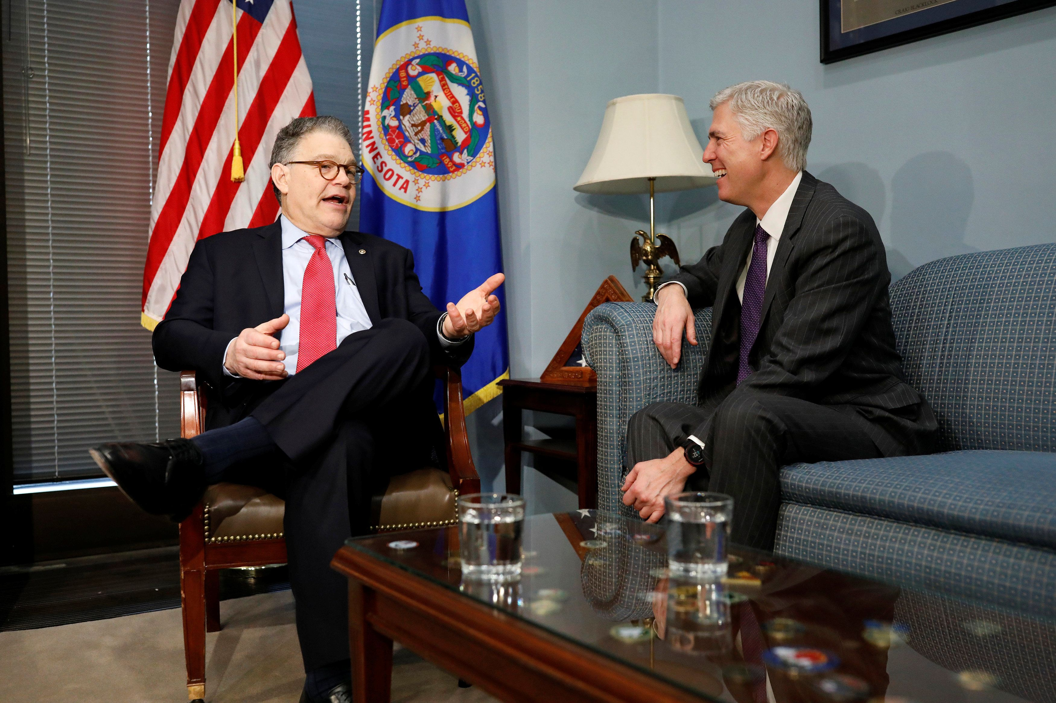 Senator Al Franken (D-MN) speaks with President Donald Trump's Supreme Court nominee Neil Gorsuch at his office on Capitol Hi