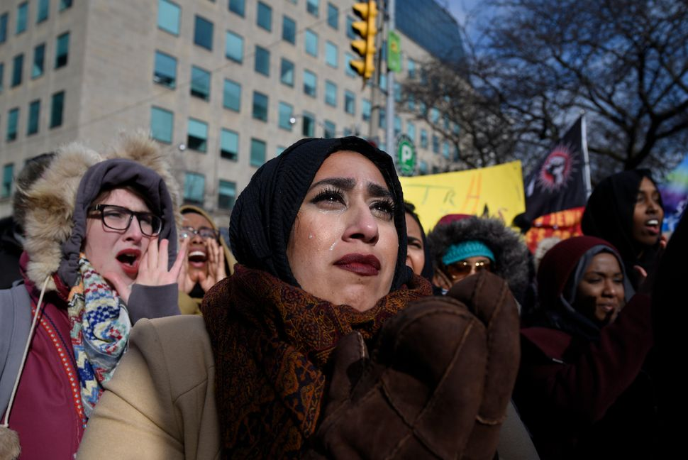 A Muslim woman in tears during a rally against Islamophobia and white supremacy in Toronto, Canada, on Feb. 4, 2017