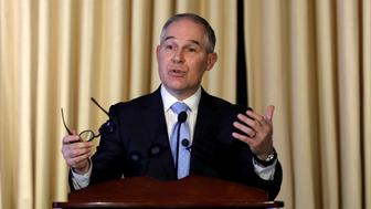 WASHINGTON, DC - FEBRUARY 21: Environmental Protection Agency Administrator Scott Pruitt address employees at the agency's headquarters February 21, 2017 in Washington, DC. Pruitt, long a critic of the EPA, faced a contentious confirmation fight in the Senate. (Photo by Aaron P. Bernstein/Getty Images)
