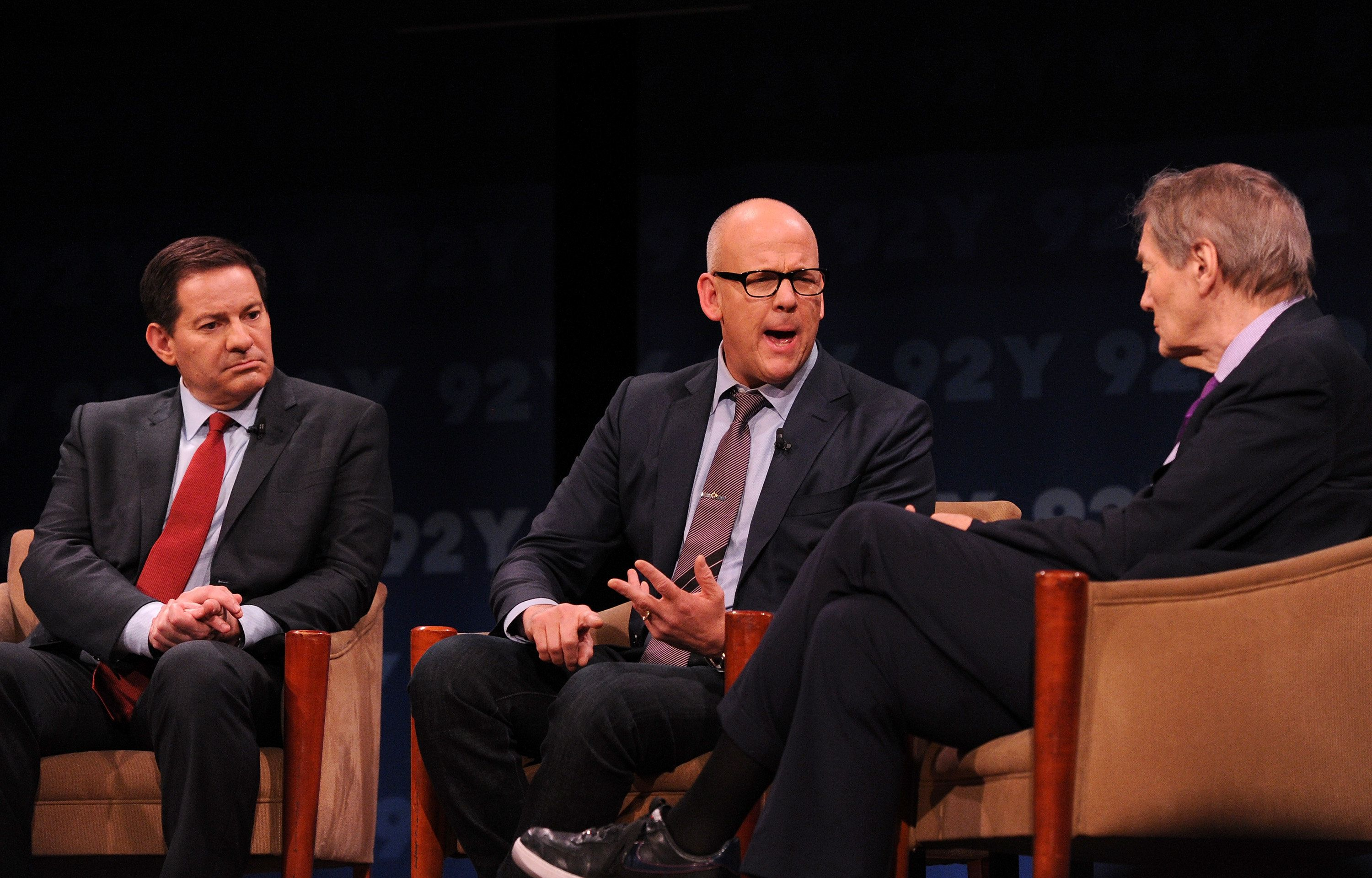 NEW YORK, NY - MAY 10:  (L-R)Mark Halperin, John Heilemann, and moderator Charlie Rose speak onstage at THE CIRCUS FYC Panel presented by Showtime and the 92Y at the 92nd Street Y on May 10, 2016 in New York City.  (Photo by Craig Barritt/Getty Images for Showtime)