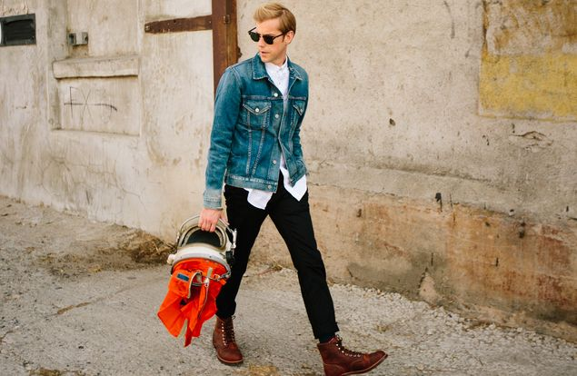 Andrew McMahon In The Wilderness With His Zombie Helmet