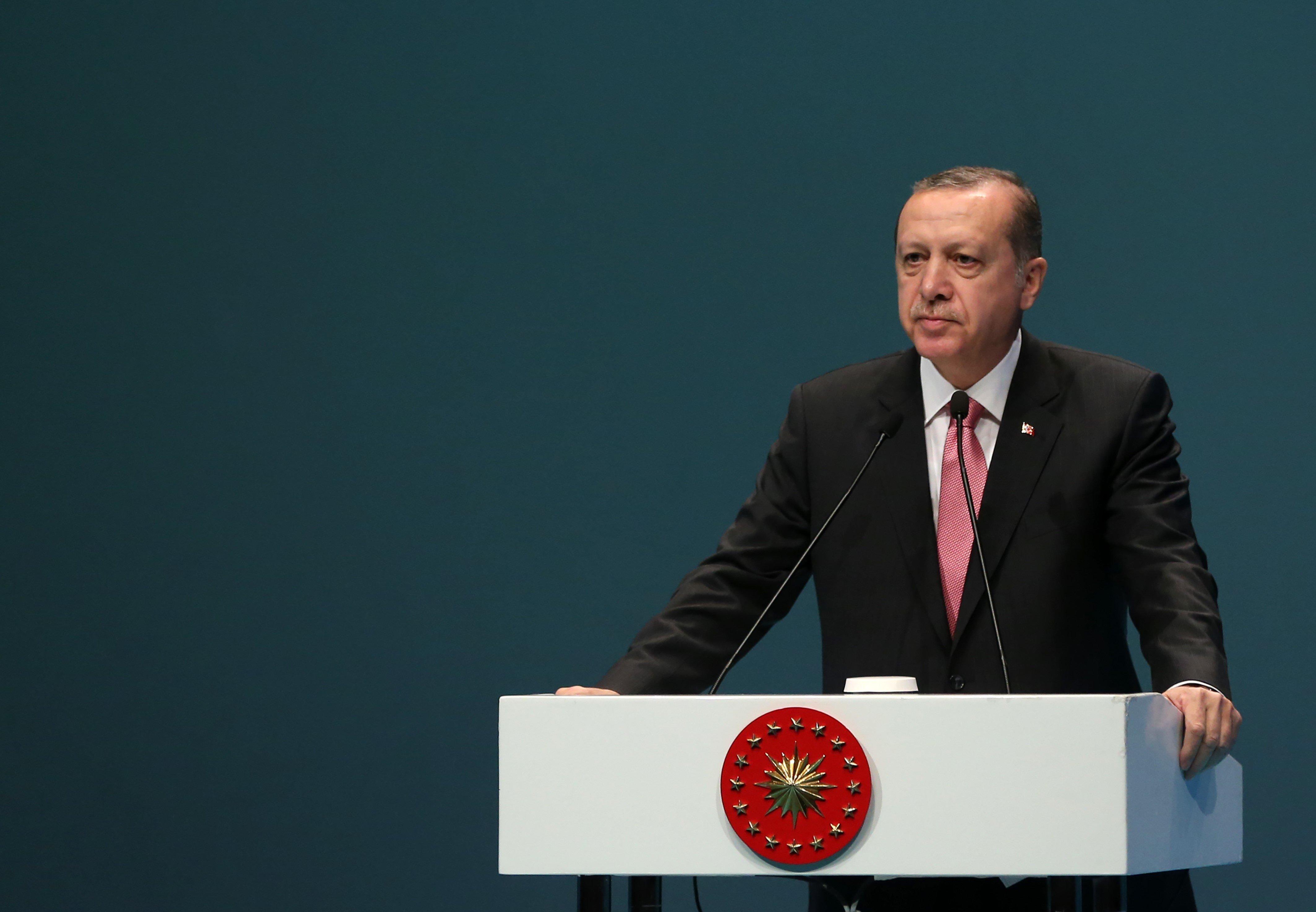 ISTANBUL, TURKEY - FEBRUARY 3 :  President Recep Tayyip Erdogan speaks during the National Cultural Council in Istanbul, Turkey on February 3, 2017. (Photo by Metin Pala/Anadolu Agency/Getty Images)