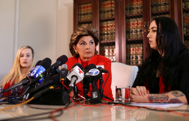 Attorney Gloria Allred represents Marine Lance Cpl. Marisa Woytek, left, and former Marine Erika Butner, whose personal photo