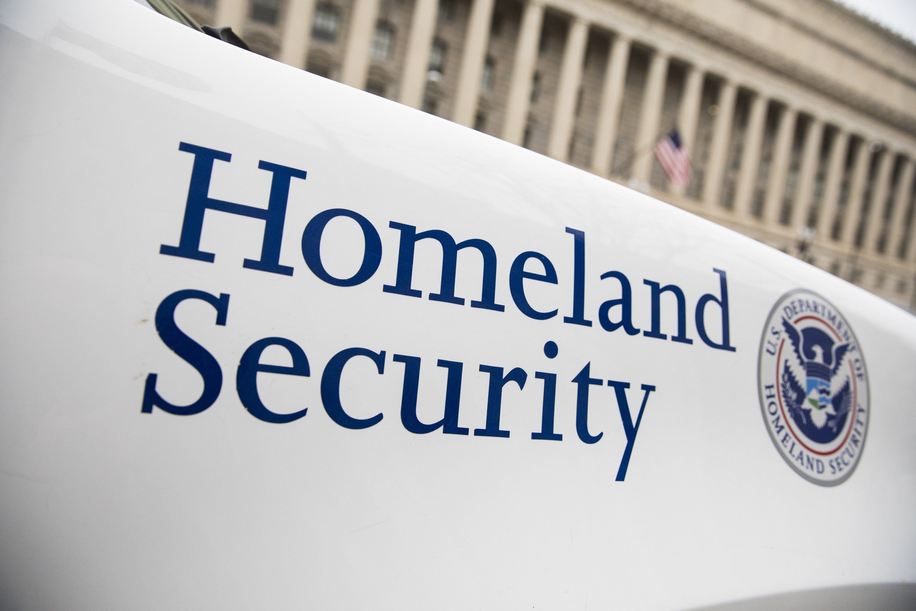 WASHINGTON, USA - MARCH 7: The Department of Homeland Security logo is seen on a law enforcement vehicle in Washington, United States on March 7, 2017. (Photo by Samuel Corum/Anadolu Agency/Getty Images)