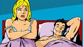 Woman Sitting in Bed With Her Arms Crossed As a Man Sleeps