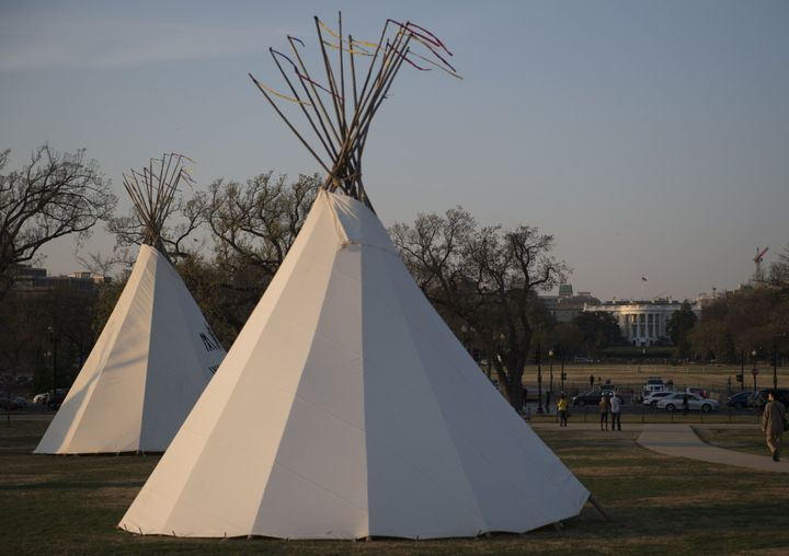 Teepees wereerected on the National Mall near the White House as tribes from around the U.S. gathered for four days of
