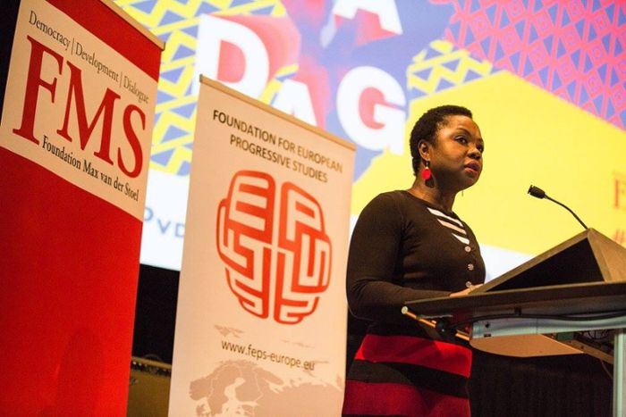 Amma Assante delivering the opening address at the <em>Africa Day</em> 2016. The latter is the largest annual event in the Ne