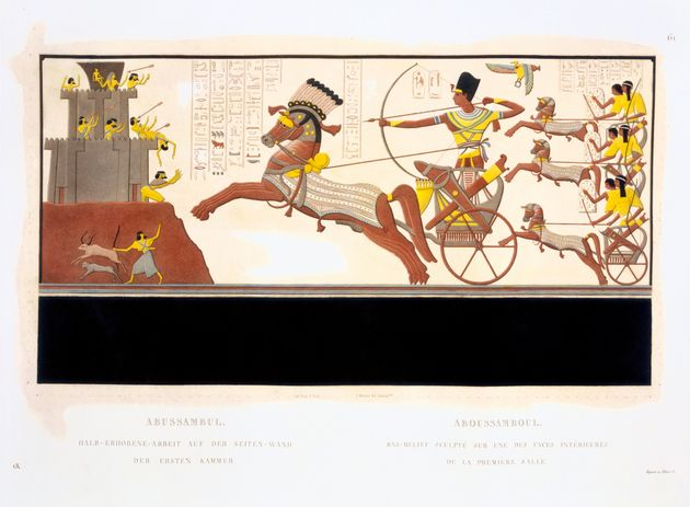 An illustration from an engraving, showing Ramses II at the Battle of