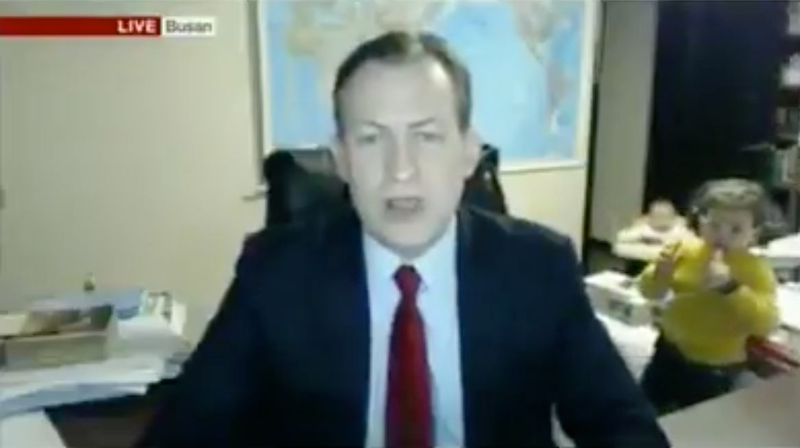 Dad's Live BBC News Interview Gets Interrupted By His